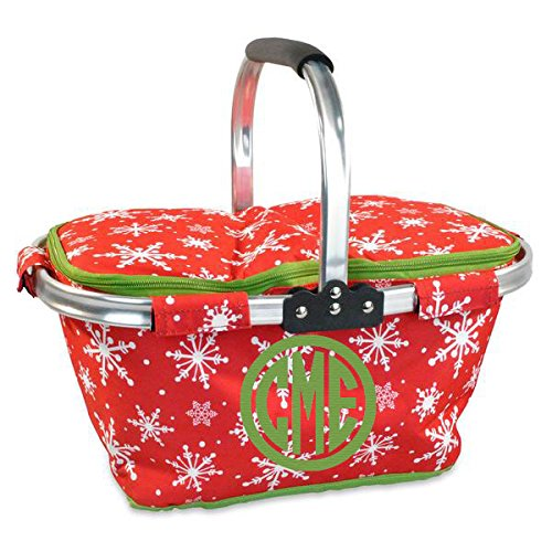 Personalized Monogrammed Collapsible Insulated Picnic Basket Market Tote - Red and Green Christmas Snowflake