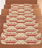 imperial cat step - Coral Fleece Stair Treads,Queen,Crowns Pattern in Red Vintage Design Coronation Imperial Kingdom Nobility Theme Decorative,Light Brown Red,(Set of 5) 8.6