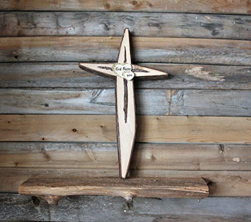 (''HANDMADE''Wood cross wall decor, Natural cedar wood cross, Unique wooden Crucifix, Crucifix Interior wall decoration, Easter wood cross, God Bless)