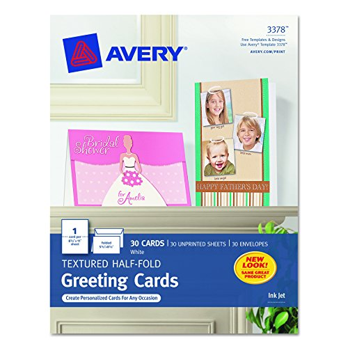 Avery 3378 Textured Half-Fold Greeting Cards, Inkjet, 5 1/2 x 8 1/2, White, Envelopes Included (Box of (Avery Greeting Cards)