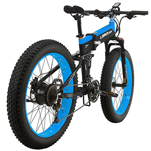 LANKELEISI T750PLUS 26'' Fat Wheel Folding Electric Bicycle 48V 14Ah Shimano 27 Speed Full Suspension Snow Mountain MTB E-Bike,Dual Hydraulic Disc Brake (Blue, 1000W)