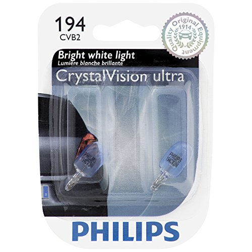 PHILIPS 194CVB2 194 CrystalVision Ultra Miniature Bulb, 2 Pack