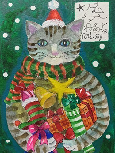 Angel Cat - Merry Christmas - cat wall art decor