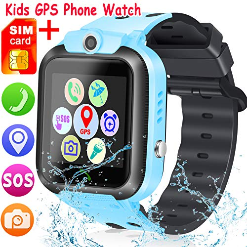 [SIM Card Included] Kids Smart Watch Phone, Waterproof Smartwatches for Children with GPS Tracker Anti-Lost SOS Call Touch Screen Voice Chat for Boys and Girls School Birthday Gifts (Blue)