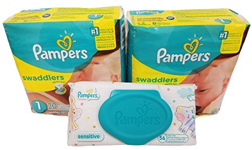 Price comparison product image Pampers Swaddlers Diapers,  Size 1,  20 Count Pack of 2 (Total of 40 Pampers) - Pampers Sensitive Wipes Travel Pack 56 Count.