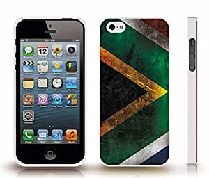 Case For HTC One M7 Cover with South Africa Flag Distressed Grunge Look Design , Snap-on Cover, Hard Carrying Case (White)