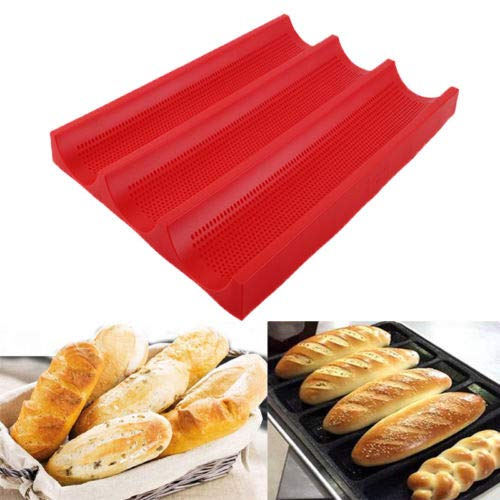 FidgetFidget 3 Loaves Silicone Non-Stick Perforated Baguette Pan French Bread Bakeware Mould