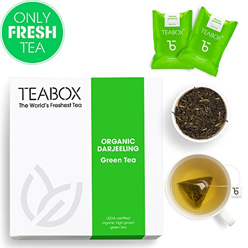 Teabox USDA Organic Darjeeling Green Tea, 16 Teabags | 100% Natural High Antioxidants Detox Green Tea | Sealed-at-Source Freshness from India ()
