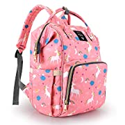 Diaper Bag Backpack for Mom - Multi-Function Waterproof Maternity Nappy Bags for Travel with Baby - Large Capacity, Durable and Stylish, Unicorn Baby Diaper Bag for Girls/Boys (Pink)