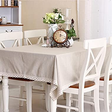 SiYANG  Coffee Hall Various Size Multi-Purpose Cloth Cotton & Hemp Rectangular Tablecloth Square Table Cloth Round Table Cloth Cover Tea Table Cloth (Beige,55.1*55.1In)