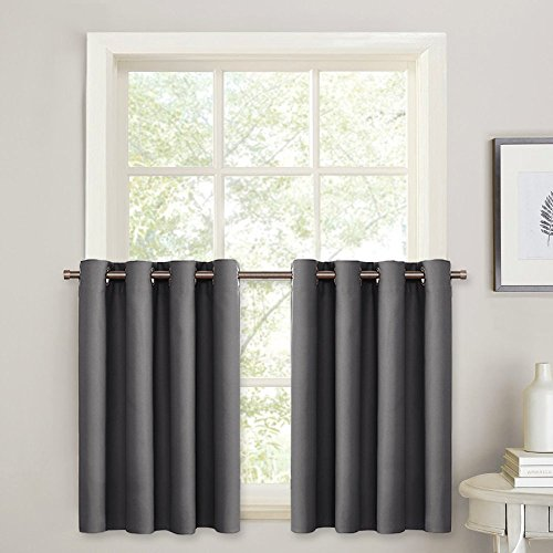 PONY DANCE Window Curtain Valances - Kitchen Tiers Short Curtains Blackout Drapes Half Length Solid Panels Thermal Insulated Light Block for Bathroom/Bedroom, 52'' W x 36'' L, Grey, Set of 2 by PONY DANCE