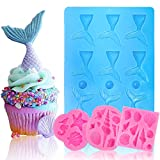 BAKHUK Seashell Mermaid Tail Mold, 4 Pack Silicone Marine Fondant Mold for Decorating Birthday cake, Ice, Chocolate, Candy, Sugar, Jelly, etc.