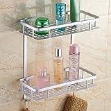 CWJ Shelf-Contemporary Double Shelves Aluminum Material Bathroom Shleves