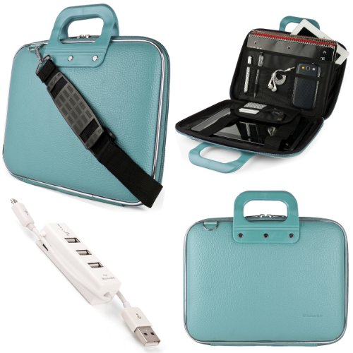 SumacLife Cady Briefcase Messenger Bag for Acer Chromebook 15.6 inch Laptops with 3 Port USB Hub (Blue)