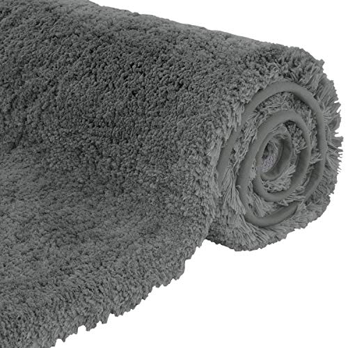 Lifewit 32″x20″ Bath Mats Soft Microfiber Non-Slip Bathroom Rug Water Absorbent, Grey