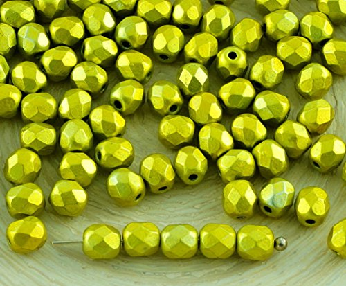 100pcs Metalust Yellow Gold Metallic Czech Glass Round Faceted Fire Polished Beads Small Spacer 4mm