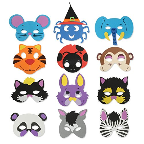 Foam Animal Masks | 12pcs Assorted Animal Foam Masks for Kids Birthday Party Safari Zoo Party Dress Up Costume | Durable Animal Party Masks with Rubber Band String | Various Colors | (Ladybug Costume For Toddler)