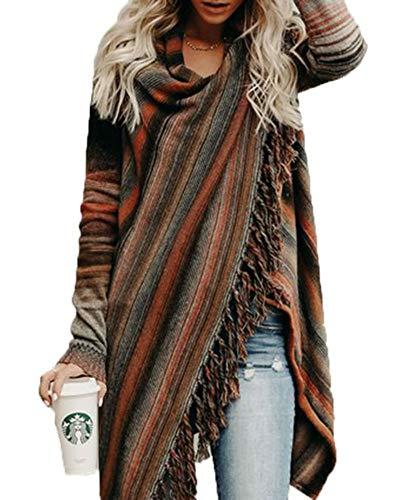 Neck Shawl (LAICIGO Women's Casual Tassel Cardigan Cowl Neck Slash Sweaters Asymmetric Hem Wrap Poncho Coat Outwear)