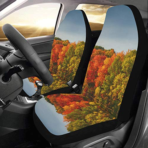 Fall Color Great Autumn Forest Custom New Universal Fit Auto Drive Car Seat Covers Protector for Women Automobile Jeep Truck SUV Vehicle Full Set Accessories for Adult Baby (Set of 2 Front)