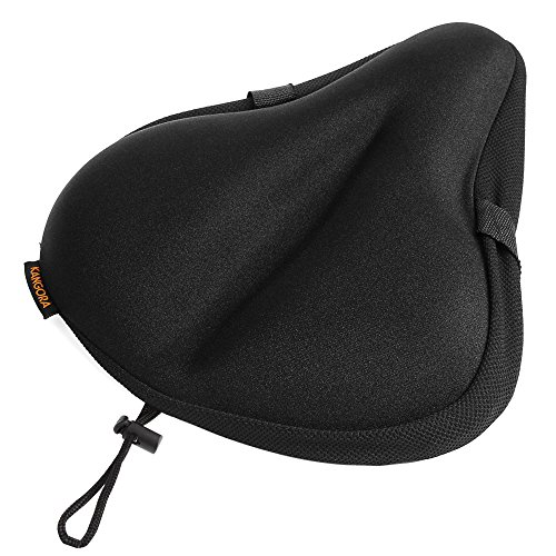 Kangora Gel Bike Seat Cover | Universal Padded Cushion for Exercise, Cycling, Mountain, Cruiser, Stationary Bicycles | Wide, Soft, Supportive Padding | Men, Women