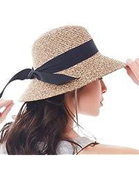 Womens Sun Straw Hat Wide Brim UPF 50 Summer Hat Foldable Roll up Floppy Beach  Hats 70dd5862b8ff