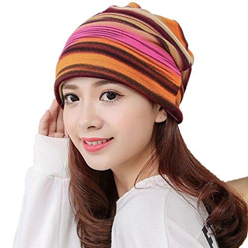 Elevin(TM)2017Fashion Women Stripe Hat Ruffle Cancer Hat Beanie