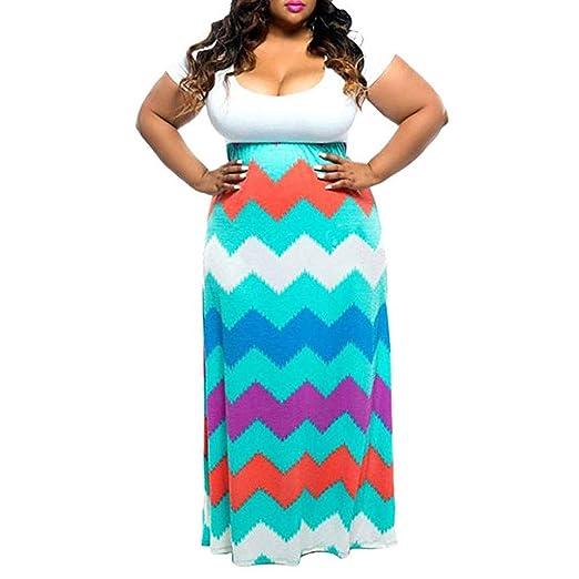 Women Plus Size Racerback Maxi Dress Striped Straight Tank ...