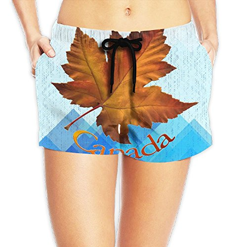 Decent Swimming Costume For Women (Canadian Maple Leaf Waist Shorts Lady Short Cool Sweatpantseaseful Gifts)