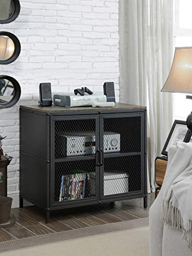 Wire Mesh Door Cabinet - Rustic Style 31 Inches Metal TV Stand with Wire Mesh Doors Cabinet, Black