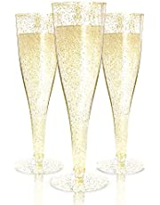 24 Plastic Champagne Flutes Disposable   Gold Glitter Plastic Champagne Glasses for Parties   Glitter Clear Plastic Cups   Plastic Toasting Glasses   Mimosa   Wedding and Shower Party Supplies