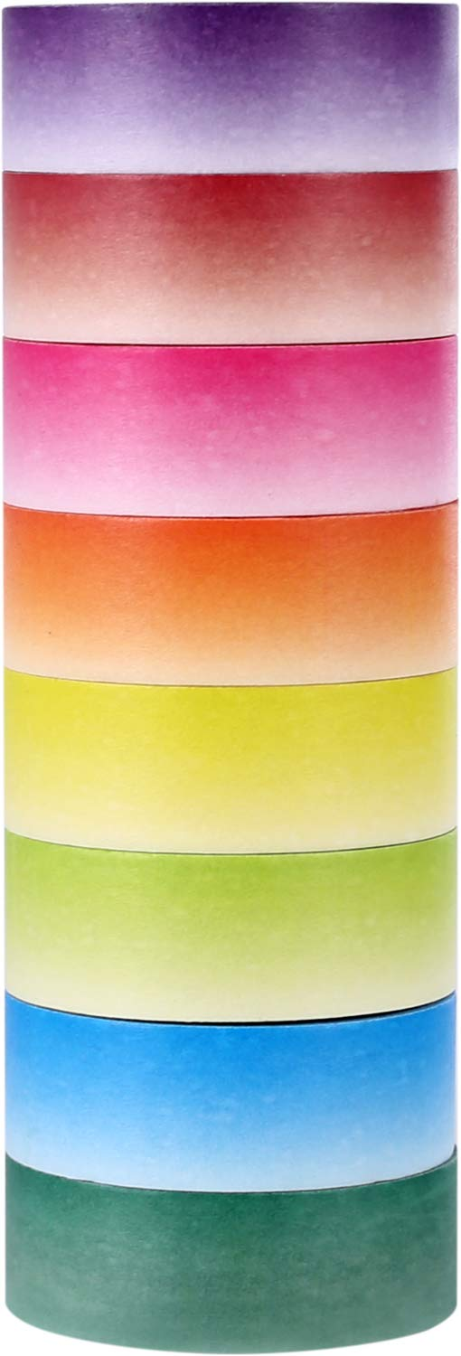 ST Bright Ombre Washi Tape, 15mm X 9.1m Each,Pack of 8 - Perfect Dazzling Effects on Greeting Cards,Gifts,Scrapbook Pages, Framed Photographed,and Even Decor