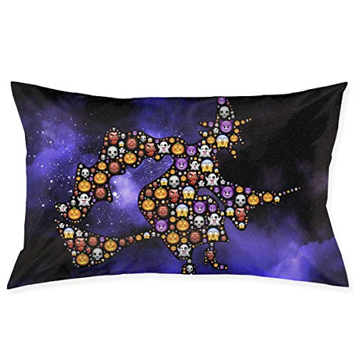 SKYISOK Happy Halloween Emoticon Witch Pillowcases Decorative Pillow Covers Soft and Cozy, Standard Size 20