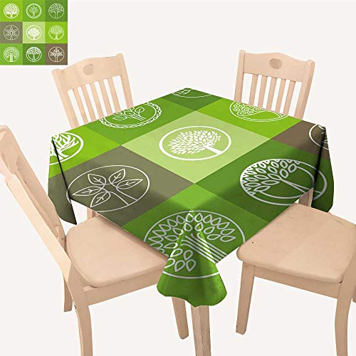 UHOO2018 Fitted Polyester Tablecloth   Tree Logo organicdesign Element eco bio Circle Badge Square/Rectangle Washable for Tablecloth,23 x ()