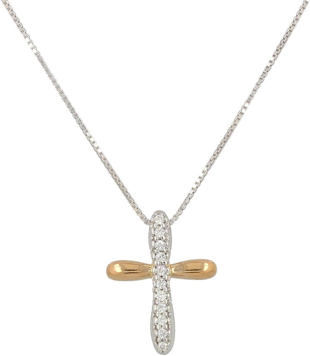 Gioiello Italiano - Collar con cruz en 18kt de oro blanco y rosa y diamantes 0.06ct, color H, pureza SI, 38+3cm, para mujeres