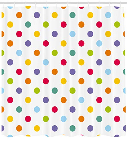 Ambesonne Geometric Shower Curtain, Vintage Polka Dots Pastel Colors on Blank Background Cheerful Desing Illustration, Cloth Fabric Bathroom Decor Set with Hooks, 70 Inches, Multicolor ()