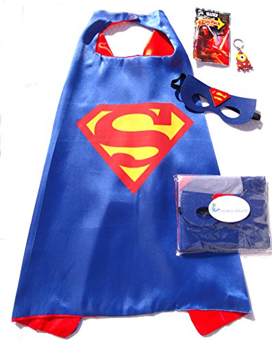 Three Piece Superhero Cape and Mask Sets with bonus prize for Pretend Play, Dress Up, and Parties (Batgirl Toddler Costume)