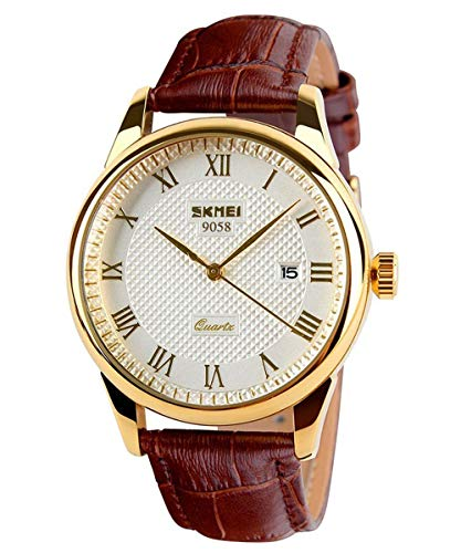 Mens Quartz Watch, Roman Numeral Business Casual Fashion Analog Wrist Watch Classic Calendar Date Window, Waterproof 30M Water Resistant Comfortable PU Leather Watches (Gold)