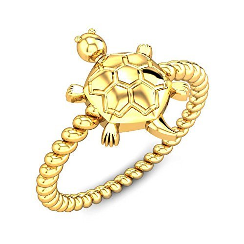 - Dabangjewels Solitaire Tortoise Ring Fancy Party Wear Ring for Men & Women 14K Yellow Gold Plated
