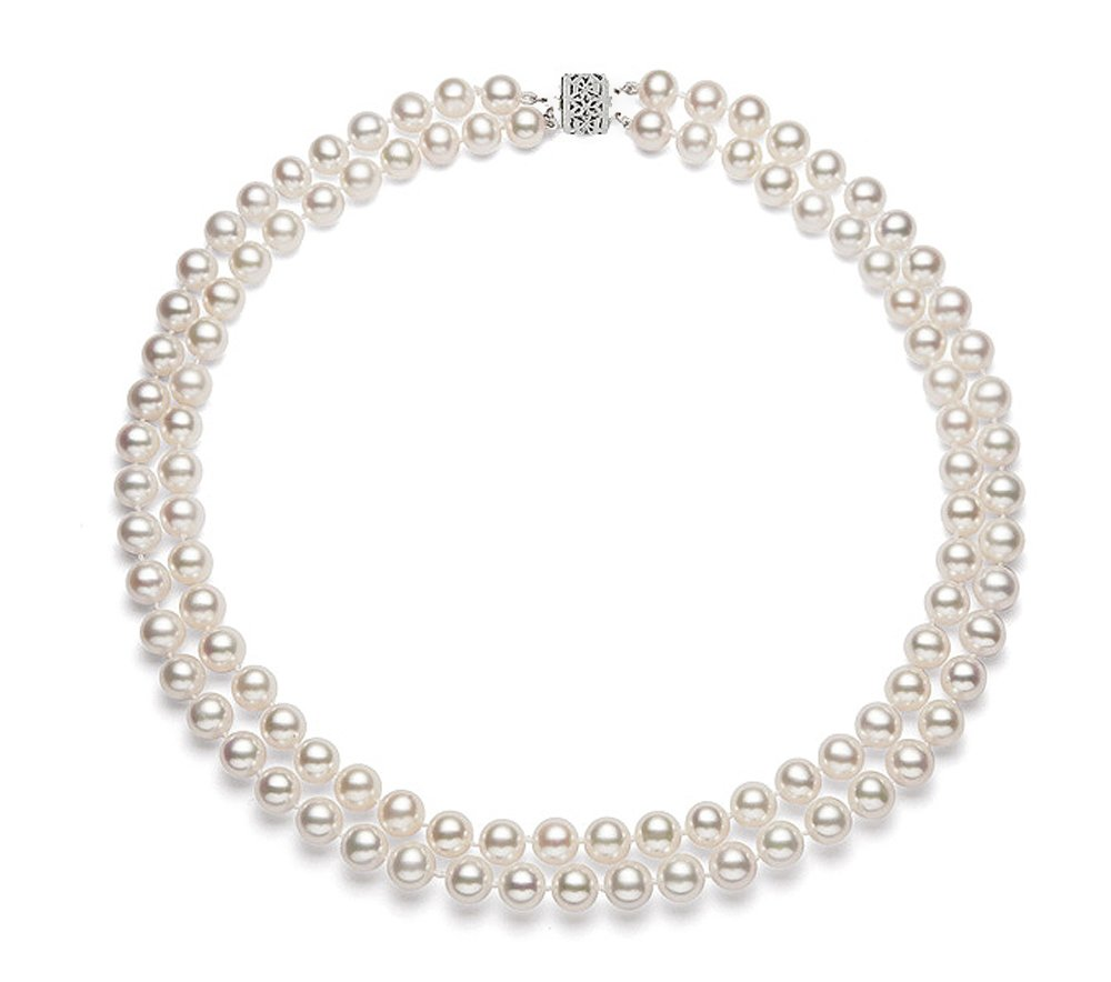 Sterling Silver Double Strand White Freshwater Cultured Pearl Necklace AA+ Quality (6.5-7mm)