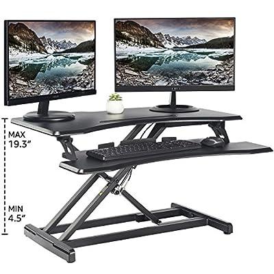 """Standing Desk with Height Adjustable – FEZIBO Stand Up Black Desk Converter, Ergonomic Desktop Workstation Riser fits Dual Monitor 32"""" Black"""