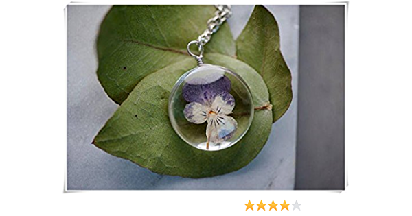 available in all shapes handmade resin necklace with pretty flower Purple and yellow pansy flower with gold leaf on a silver chain