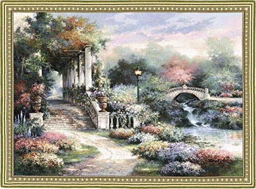 Classic Garden Retreat by James Lee | Woven Tapestry Wall Art Hanging | Scenic Flower Garden on Shimmering River Landscape | 100% Cotton USA Size 53x42