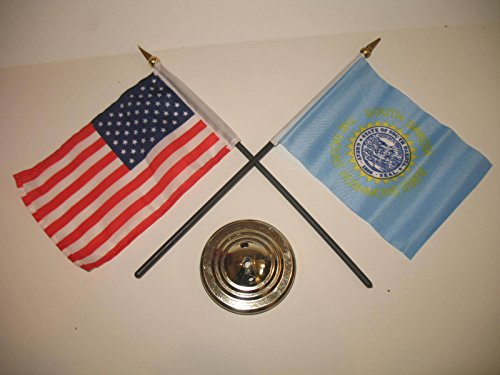 "South Dakota State USA America American Flag 4""x6"" Desk Set Gold Base Vivid Color and UV Fade Resistant Canvas Header and polyester material"