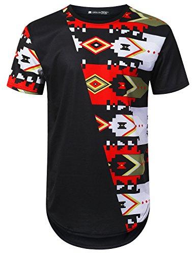- URBANTOPS Mens Hipster Hip Hop Parallel Aztec Longline T-Shirt Black, XL