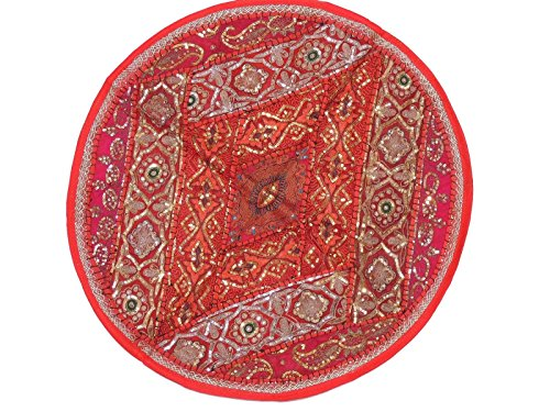 NovaHaat Red and Magenta Sari Patchwork Round Pillow Cover - Sequin and Aari Embroidery, Bead work Oversized Ethnic Floor Seating Cushion from India ~ 26 (India Sari Floor Pillow Cushion)