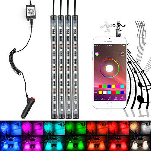 Car Multicolor LED Interior Underdash Lighting Kit By APP Bluetooth Controller for iPhone Android