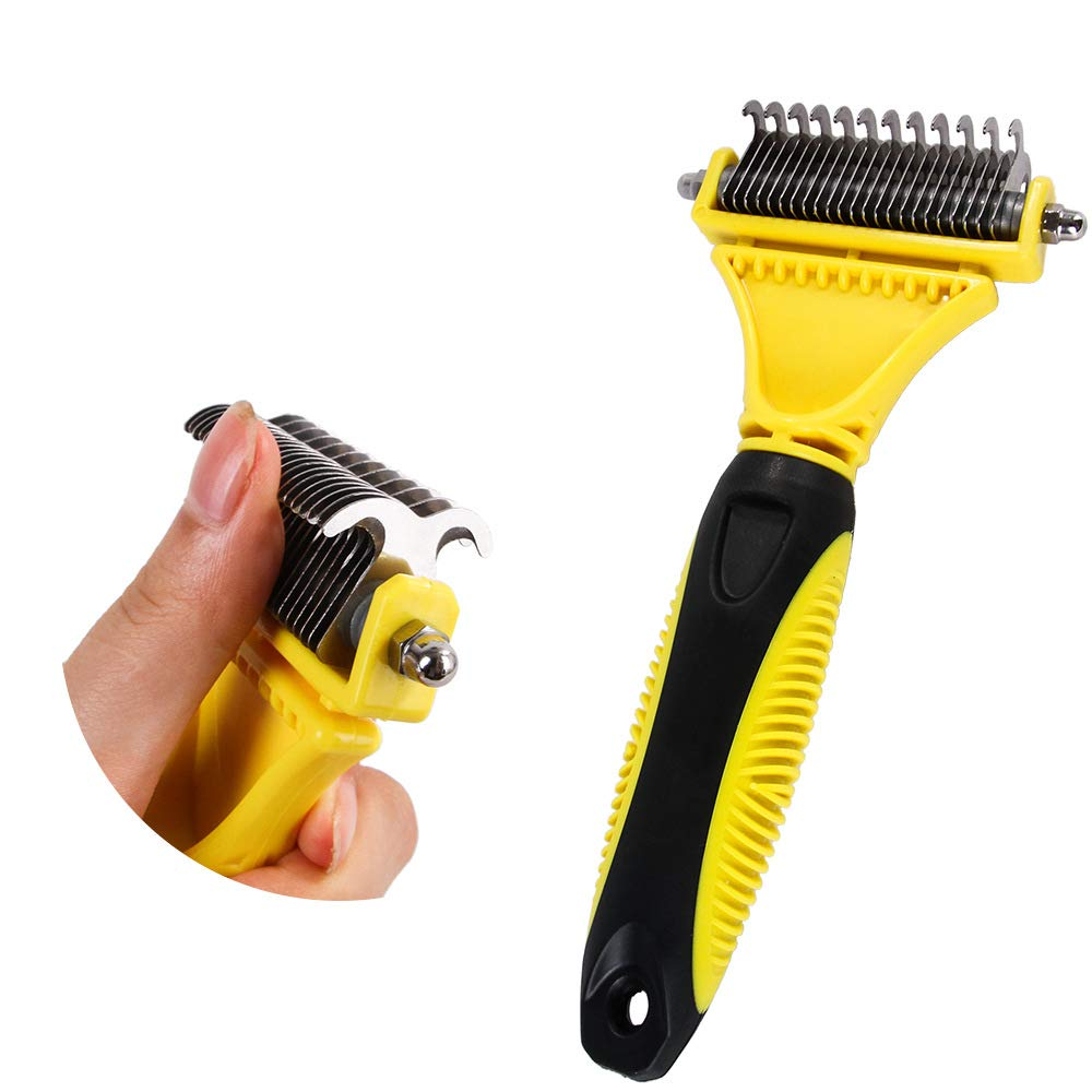 FACAI Grooming Dematting Comb Tool Kit - Double Sided Blade Rake Comb Grooming Comb - Removes Loose Undercoat, Knots, Mats and Tangled Hair for Large Medium Small Dogs Cats Pets by FACAI