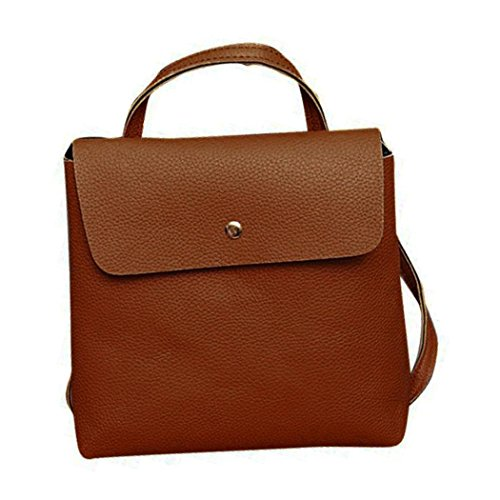 Inkach Satchel Womens Rucksack Brown Bags Travel School Purse Bag Fashion Leather Backpack p4pF7qwr
