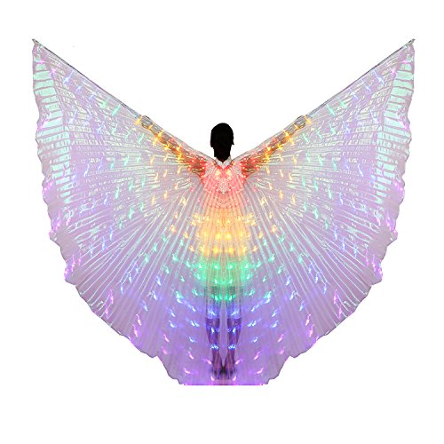 Stick Dance Costume (Dance Fairy Belly Dance LED Colorful Isis Wings with Stick(Red-Yellow-Green-Blue-Purple))