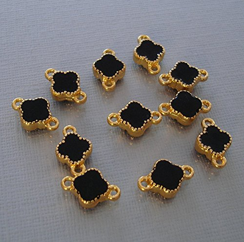 BeadsTreasure 6 Clover Connector Gold Plated Black Enamel Double Sided Jewelry Making Finding Supply.